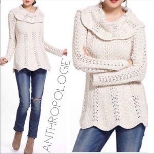 Anthro Yellow Bird shine scalloped sweater S 0370
